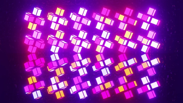 4k uhd 3d illustration of colorful cubical blocks glowing with colorful neon light and forming symmetric ornament Premium Photo