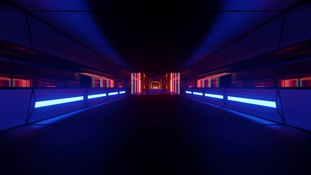 4k uhd 3d illustration of dim corridor illuminated with red and blue neon lamps