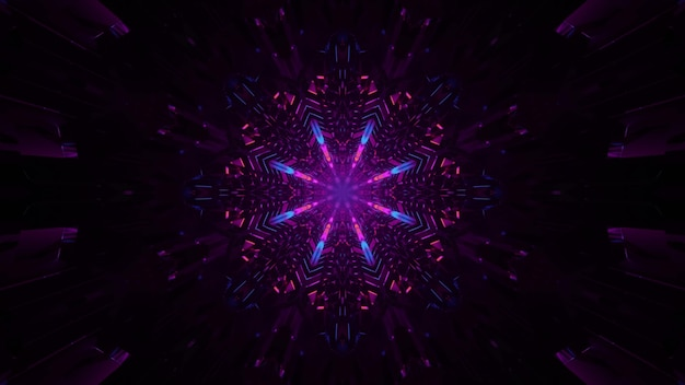 4k uhd 3d illustration of dim futuristic tunnel with abstract ornament and purple neon illumination