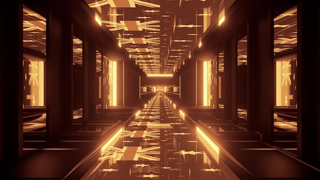 4k uhd 3d illustration of flags of australia and golden neon lamps shining inside geometric corridor