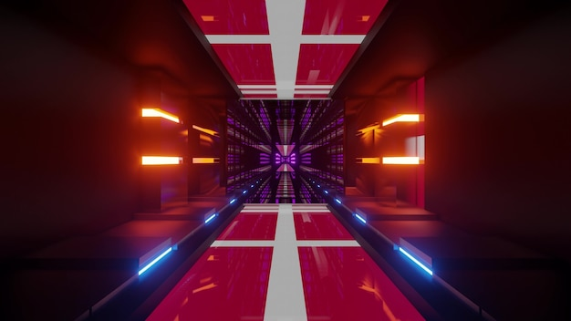 4k uhd 3d illustration of flags of denmark glowing with neon lights inside bright futuristic tunnel