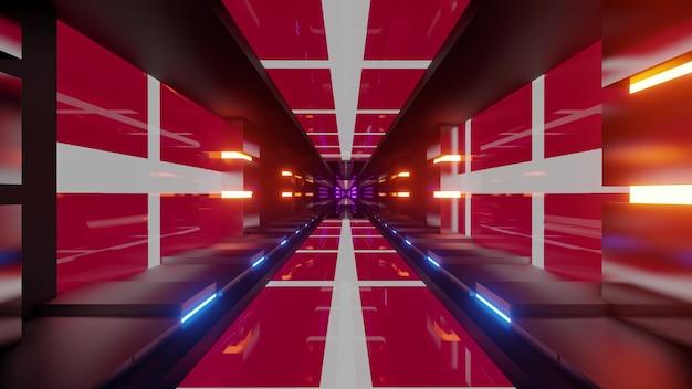 4k uhd 3d illustration of futuristic corridor with flags of denmark ornament and bright neon illumination