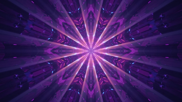 4k uhd 3d illustration of futuristic geometric ornament with rays glowing with purple neon light inside tunnel