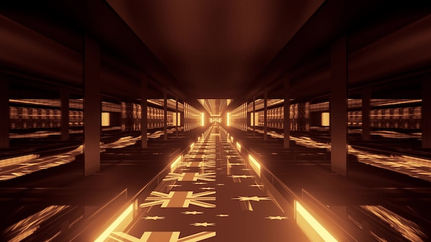 4k uhd 3d illustration of futuristic golden tunnel with ornament of shiny flags of australia on floor