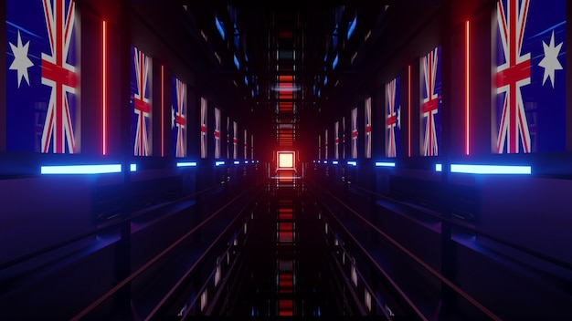 4k uhd 3d illustration of futuristic tunnel with flags of australia on walls glowing with red and blue neon lights