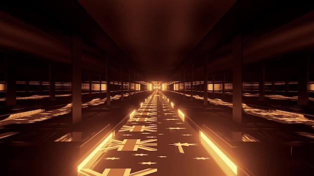 4k uhd 3d illustration of geometric corridor with australian flags ornament on floor illuminated with golden neon light