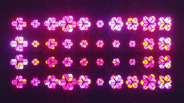 4k uhd 3d illustration of geometric shapes composed of glowing neon blocks forming uneven ornament