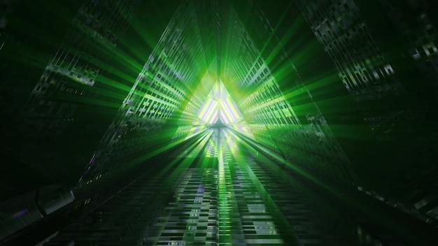 4k uhd 3d illustration of green neon beams illuminating obscure triangle shaped corridor