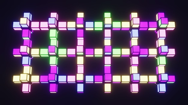 4k uhd 3d illustration of multicolored cubes glowing with neon light and forming grid against black background