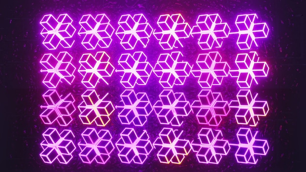 4k uhd 3d illustration of neon linear cubes glowing with magenta light and forming geometric pattern