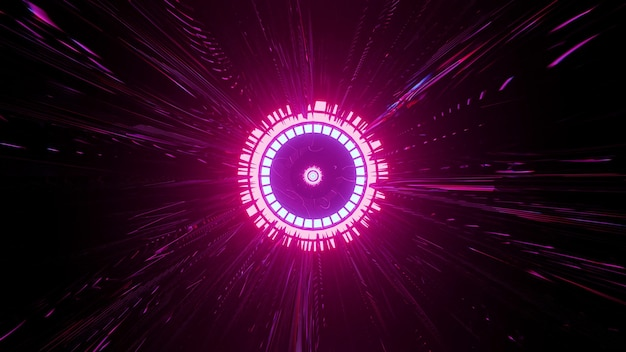 4k uhd 3d illustration of neon round ornament with vivid pink rays glowing in darkness Premium Photo