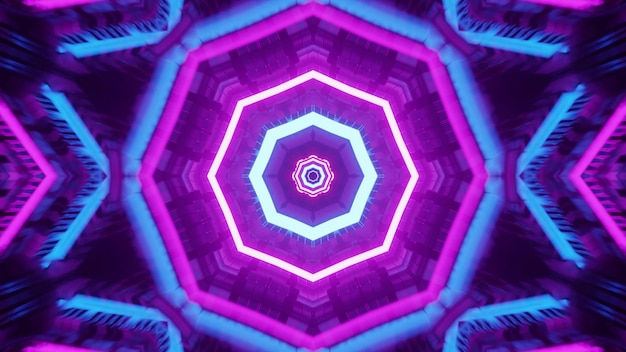 4k uhd 3d illustration of octagon shaped ornament glowing with blue and purple neon lights and forming geometric tunnel