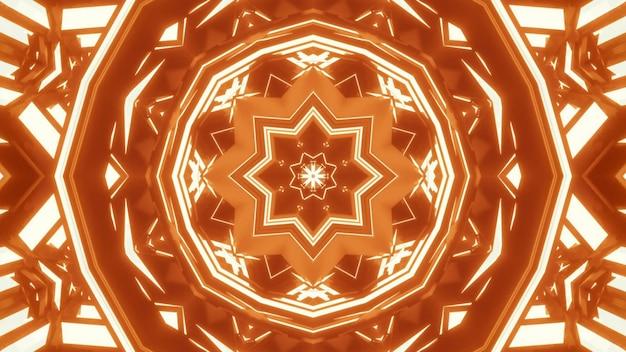 밝은 네온 오렌지 빛으로 빛나는 추상 크리스탈 모양의 장식에 대한 4k uhd 3d 그림