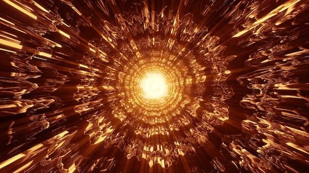 선명한 네온 오렌지 빛으로 빛나고 미래형 터널을 형성하는 추상적 왜곡 장식의 4k uhd 3d 그림