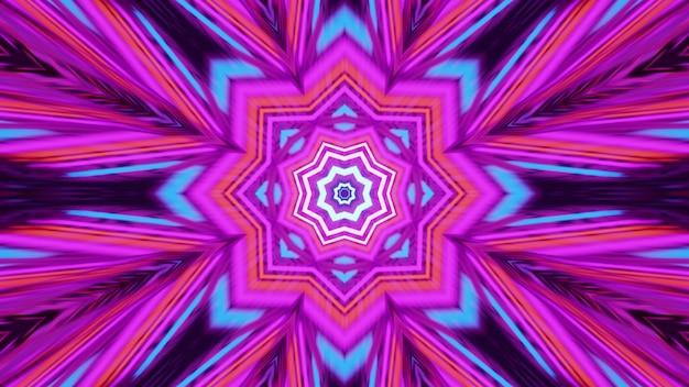 여러 가지 빛깔의 네온 불빛으로 빛나는 추상 기하학적 장식의 4k uhd 3d 그림
