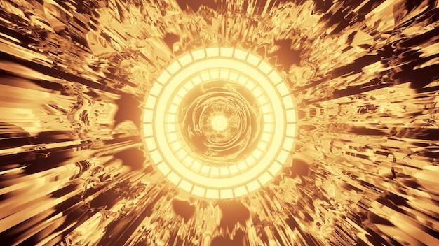 선명한 네온 황금빛으로 빛나는 둥근 장식이 있는 추상 기하학적 터널의 4k uhd 3d 그림