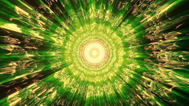 밝은 녹색 네온 불빛으로 빛나는 왜곡된 장식이 있는 추상 터널의 4k uhd 3d 그림