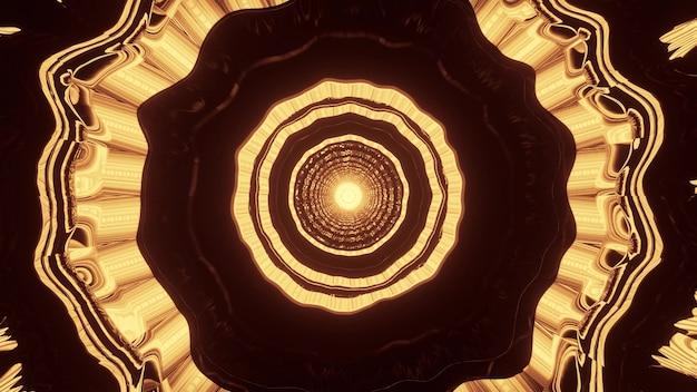 미래의 터널 내부에 황금 네온 불빛으로 빛나는 추상 물결 모양 장식의 4k uhd 3d 그림