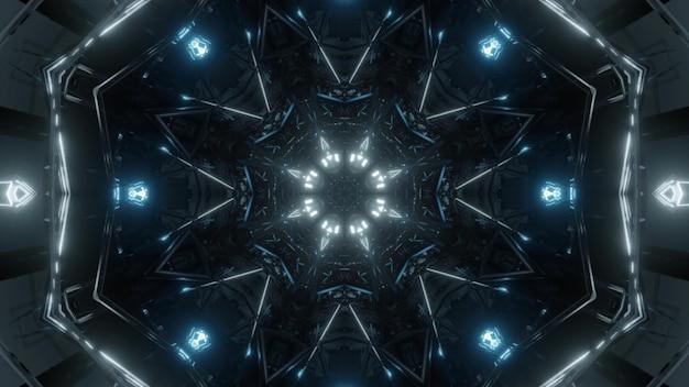 터널 내부에서 빛나는 파란색 네온 램프의 4k uhd 3d 그림 추상 장식