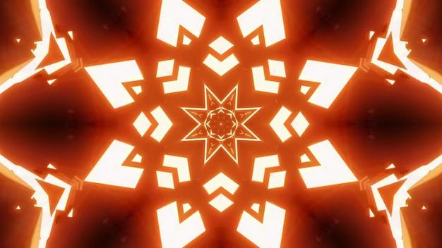 추상 별 모양의 장식을 형성하는 주황색의 밝은 네온 불빛의 4k uhd 3d 그림