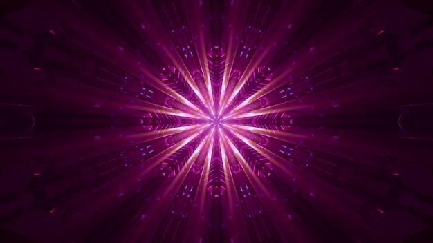 네온 불빛으로 빛나는 분홍색 빔이 있는 미래 크리스탈 모양의 장식에 대한 4k uhd 3d 그림
