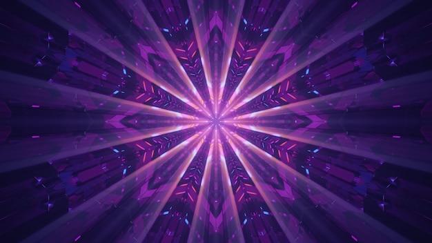 터널 내부에 보라색 네온 불빛으로 빛나는 광선이 있는 미래형 기하학적 장식의 4k uhd 3d 그림