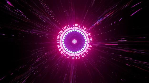 어둠 속에서 빛나는 선명한 분홍색 광선이 있는 네온 라운드 장식의 4k uhd 3d 그림