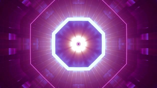 화려한 네온 불빛으로 빛나는 네온 램프가 있는 팔각형 미래형 터널의 4k uhd 3d 그림