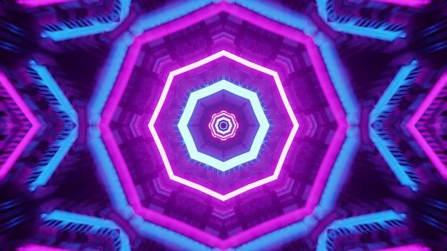 파란색과 보라색 네온 불빛으로 빛나고 기하학적 터널을 형성하는 팔각형 모양의 장식에 대한 4k uhd 3d 그림