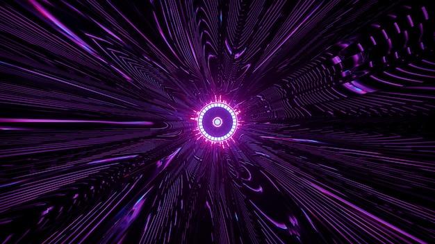 어두운 터널에서 선명한 보라색 장식으로 둘러싸인 둥근 네온 램프의 4k uhd 3d 그림