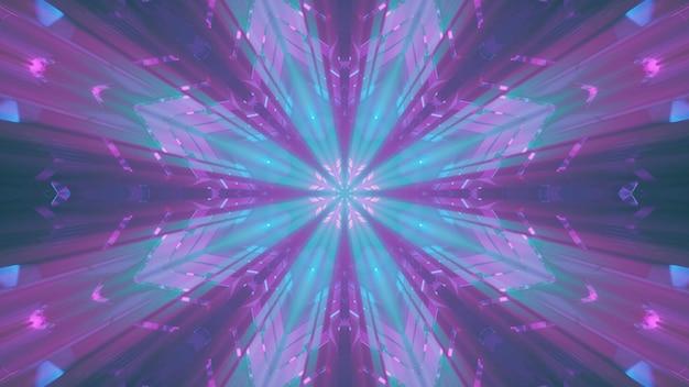 추상 크리스탈 장식을 비추는 녹색 및 분홍색 네온 불빛의 직선 광선에 대한 4k uhd 3d 그림