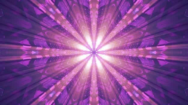 광선의 생생한 네온 빛으로 조명된 대칭 기하학적 터널의 4k uhd 3d 그림