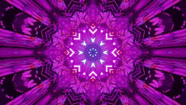 보라색 네온 불빛으로 빛나는 추상 크리스탈로 형성된 대칭 만화경 장식의 4k uhd 3d 그림