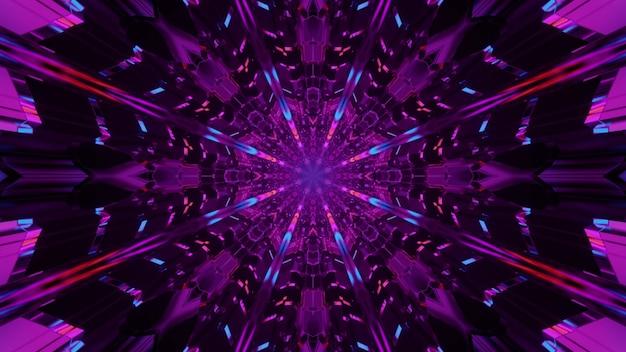 보라색 네온 불빛으로 빛나는 대칭 만화경 장식의 4k uhd 3d 그림
