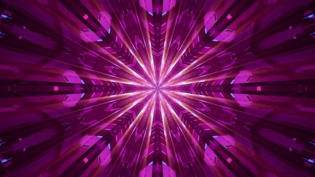 터널 내부의 네온 불빛으로 빛나는 밝은 분홍색 빔이 있는 대칭 장식의 4k uhd 3d 그림