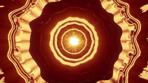 생생한 황금 네온 불빛으로 빛나고 추상 터널을 형성하는 물결 모양 장식의 4k uhd 3d 그림