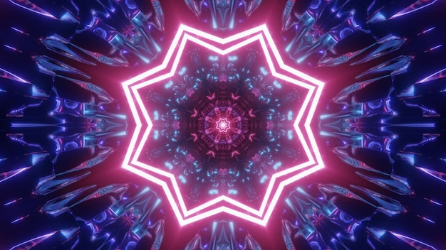 4k uhd 3d illustration of pink star shaped illumination and abstract blue ornament glowing with neon light inside tunnel