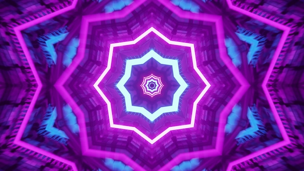 4k uhd 3d illustration of purple and blue neon lines forming star shaped ornament inside futuristic tunnel