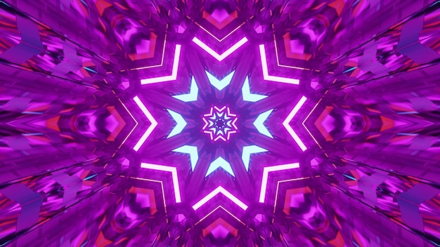 4k uhd 3d illustration of star shaped kaleidoscopic ornament glowing with bright purple neon light