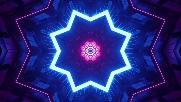 4k uhd 3d illustration of star shaped symmetric tunnel illuminated with pink and blue neon lights