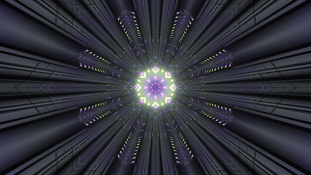 4k uhd 3d illustration of symmetric abstract ornament glowing with neon light inside round gray tunnel