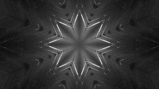 4k uhd 3d illustration of symmetric abstract star shaped ornament on gray color