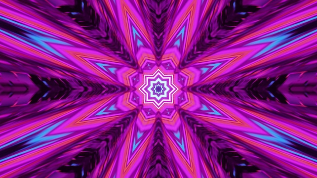 4k uhd 3d illustration of symmetric abstract tunnel with striped psychedelic ornament glowing with vivid neon light