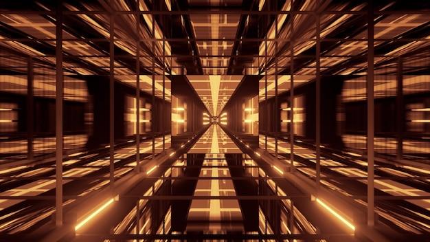 4k uhd 3d illustration of symmetric geometric corridor with glass walls illuminated with golden neon light