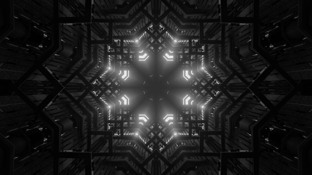 4k uhd 3d illustration of symmetric gray tunnel with abstract ornament glowing with neon light