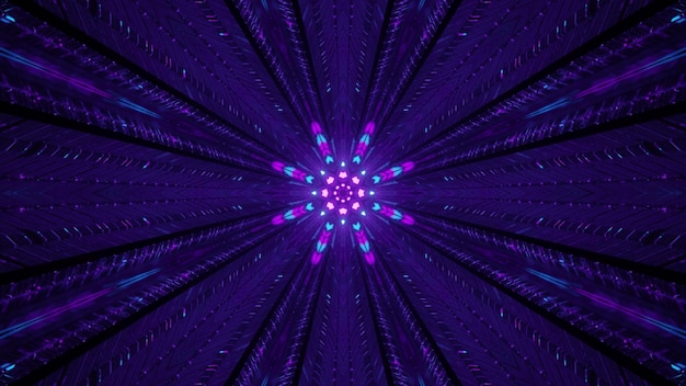 4k uhd 3d illustration of symmetric ornament glowing with blue and purple neon lights inside sci fi corridor