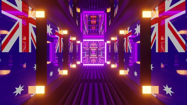 4k uhd 3d illustration of symmetric tunnel with bright neon illumination and flags of australia on walls