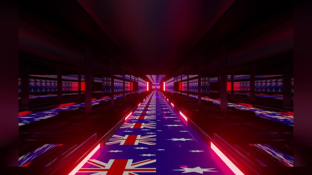 4k uhd 3d illustration of symmetric tunnel with red neon illumination and flags of australia on floor