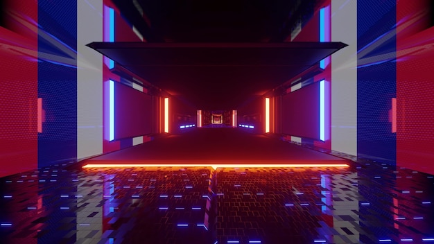 4k uhd abstract futuristic tunnel with glass floor illuminated with colorful neon lamps