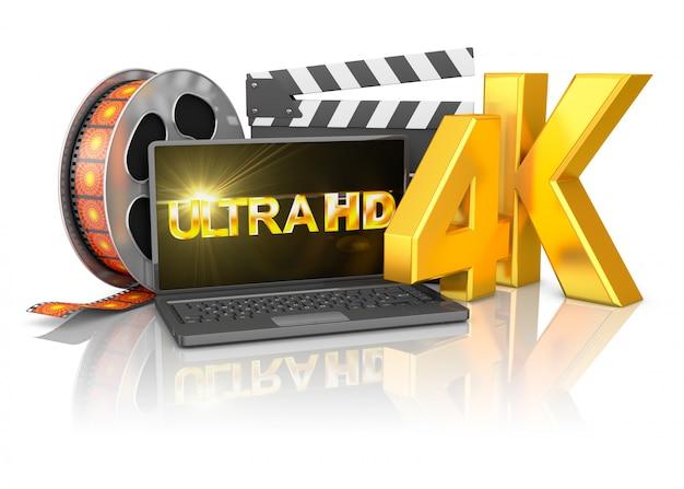 4kノートパソコンとフィルムストリップ